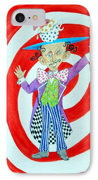 It's A Mad, Mad, Mad, Mad Tea Party -- Humorous Mad Hatter Portrait IPhone Case by Jayne Somogy