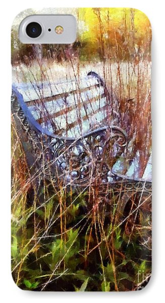 It's Been Awhile - Park Bench IPhone Case by Janine Riley