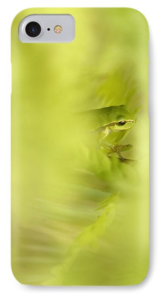 It's Not Easy Being Green - Tree Frog Hiding  IPhone Case by Roeselien Raimond