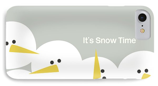 It's Snow Time Snow Heads- Art By Linda Woods IPhone Case by Linda Woods