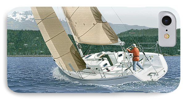 J-109 Sailboat Off Comox B.c. IPhone Case by Gary Giacomelli