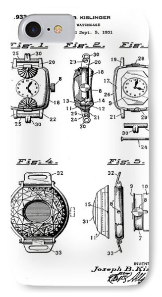 J B Kislinger Watch Patent 1933 IPhone Case