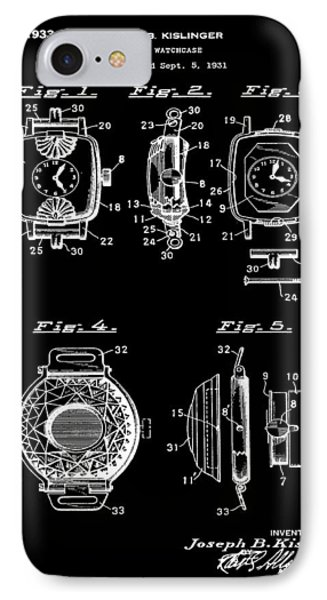 J B Kislinger Watch Patent 1933 Black IPhone Case