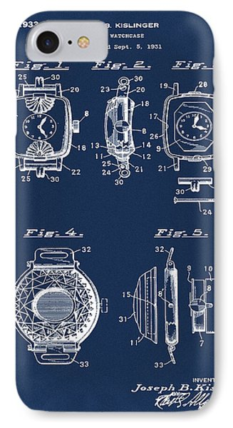 J B Kislinger Watch Patent 1933 Blue IPhone Case