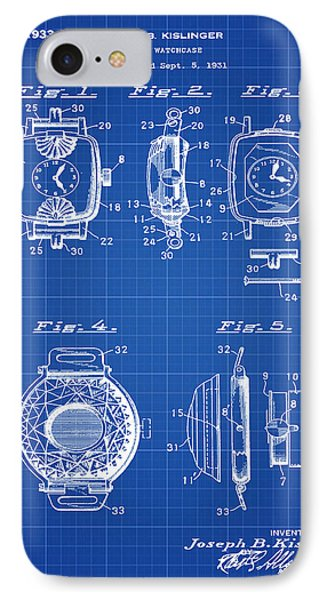 J B Kislinger Watch Patent 1933 Blue Print IPhone Case