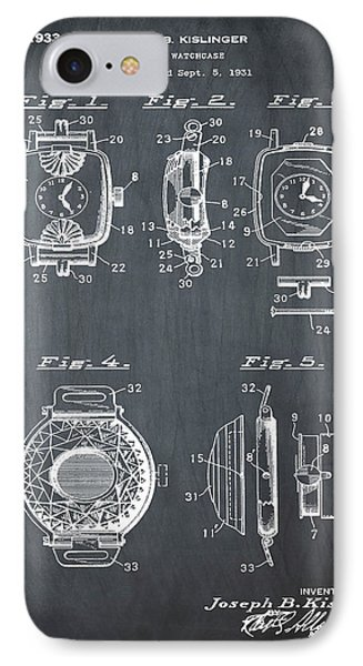 J B Kislinger Watch Patent 1933 Chalk IPhone Case