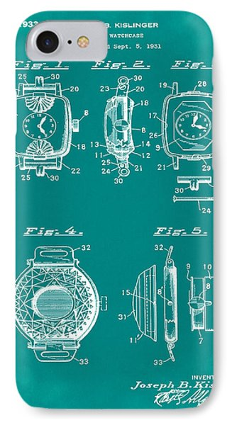 J B Kislinger Watch Patent 1933 Green IPhone Case