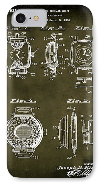 J B Kislinger Watch Patent 1933 Grunge IPhone Case