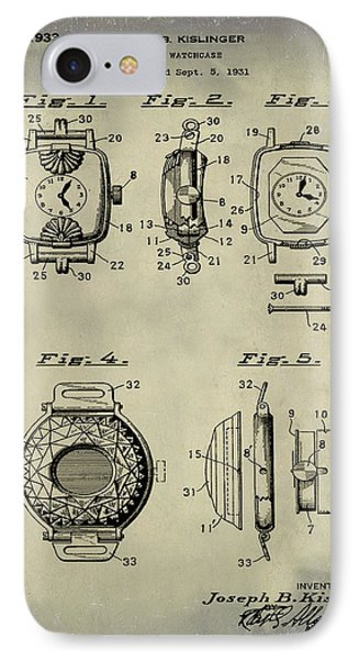 J B Kislinger Watch Patent 1933 Weathered IPhone Case