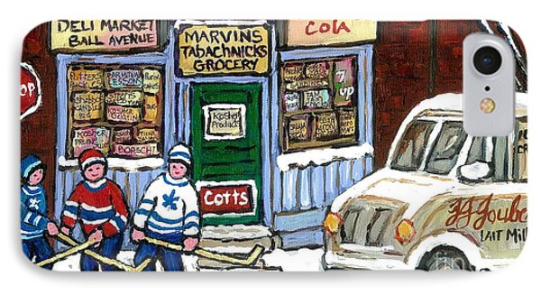J J Joubert Vintage Milk Truck At Marvin's Grocery Montreal Memories Street Hockey Best Hockey Art IPhone Case by Carole Spandau