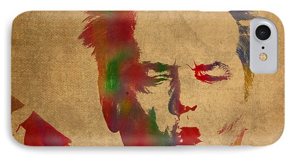 Jack Nicholson Smoking A Cigar Blowing Smoke Ring Watercolor Portrait On Old Canvas IPhone 7 Case by Design Turnpike