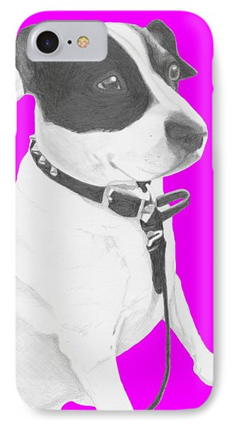 Jack Russell Cross With Pink Background IPhone Case by David Smith