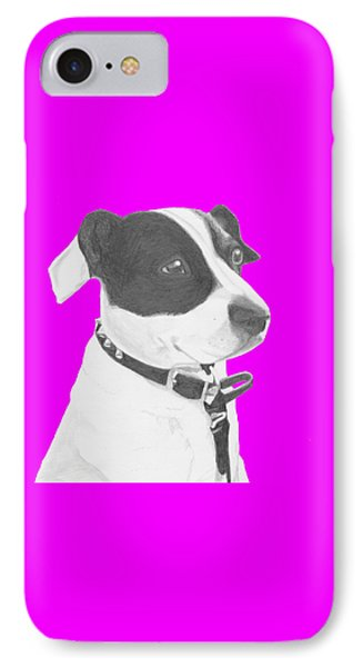 Jack Russell Crossbreed In Pink Headshot IPhone Case by David Smith