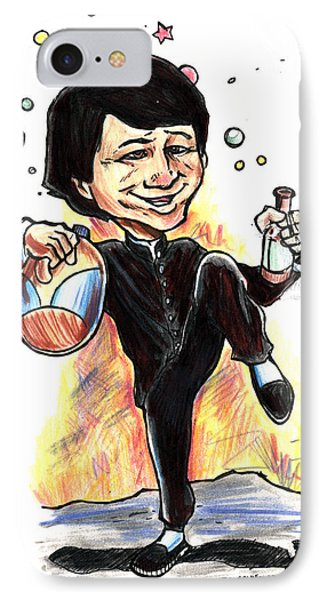 IPhone Case featuring the drawing Jackie Chan Drunken Master by John Ashton Golden