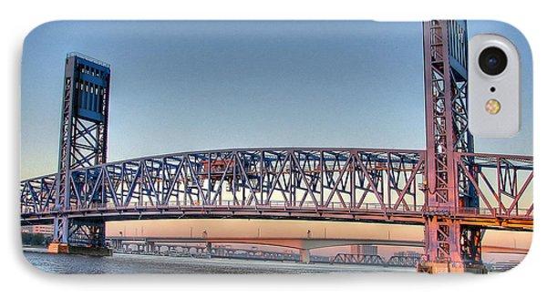 Jacksonville's Blue Bridge At Sunrise IPhone Case by Farol Tomson