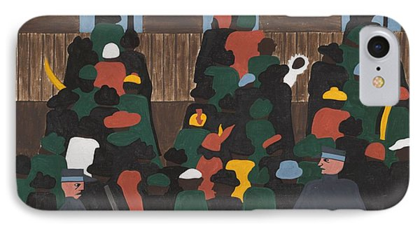 Jacob Lawrence   The Railroad Stations Were At Times So Over Packed With People Leaving That Special Guards Had To Be Called In To Keep Order IPhone Case