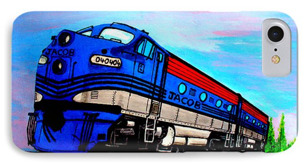 IPhone Case featuring the painting Jacob The Train by Pjohn Artman