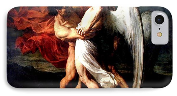 Jacob Wrestling With The Angel IPhone Case by Alexander Louis Leloir