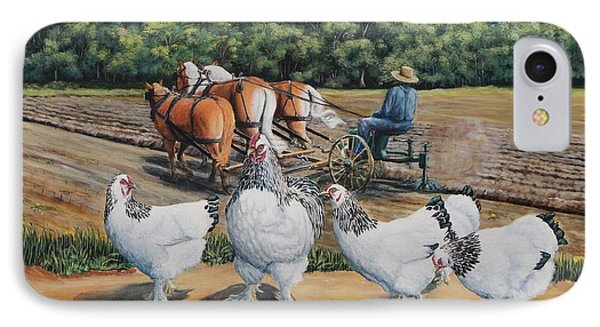 Jacobs Plowing And Light Bramah Chickens IPhone Case by Ruanna Sion Shadd a'Dann'l Yoder