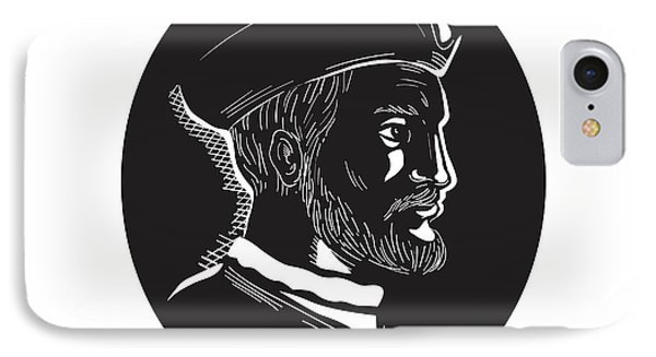 Jacques Cartier French Explorer Oval Woodcut IPhone Case
