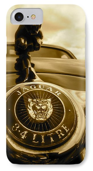 IPhone Case featuring the photograph Jaguar Car Mascot by John Colley