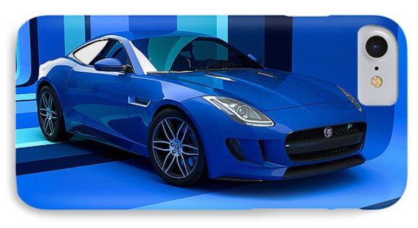 Jaguar F-type - Blue Retro IPhone Case