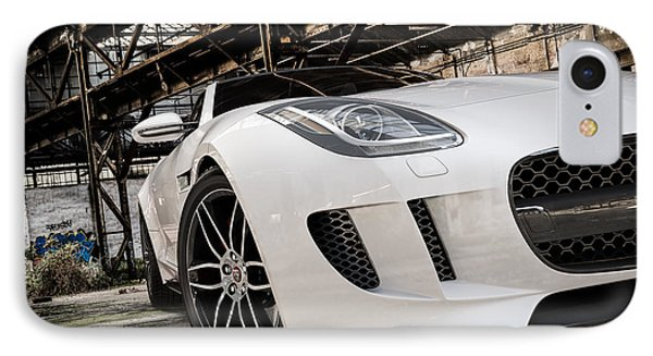 Jaguar F-type - White - Front Close-up IPhone Case