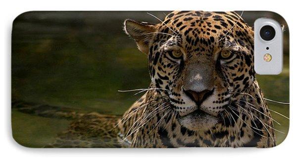 Jaguar In The Water Phone Case by Sandy Keeton