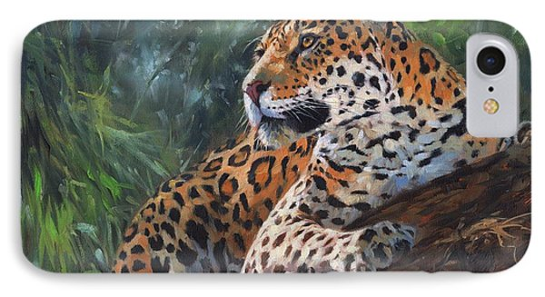 Jaguar In Tree IPhone Case by David Stribbling