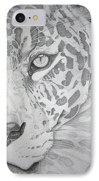 IPhone Case featuring the drawing Jaguar Pointillism by Mayhem Mediums
