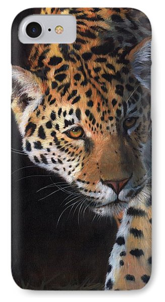 Jaguar Portrait IPhone Case by David Stribbling