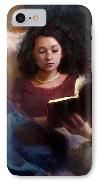 IPhone Case featuring the painting Jaidyn Reading A Book 1 - Portrait Of Young Woman by Karen Whitworth