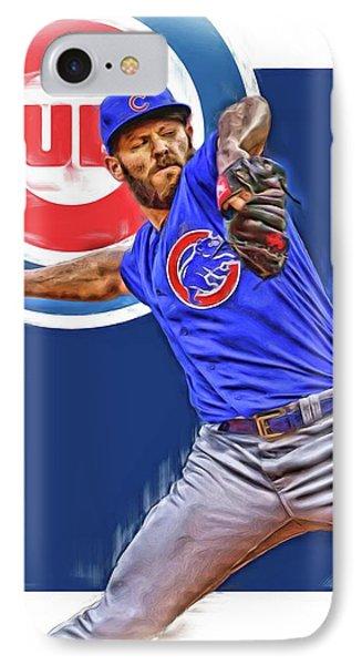 Jake Arrieta Chicago Cubs Oil Art IPhone Case by Joe Hamilton