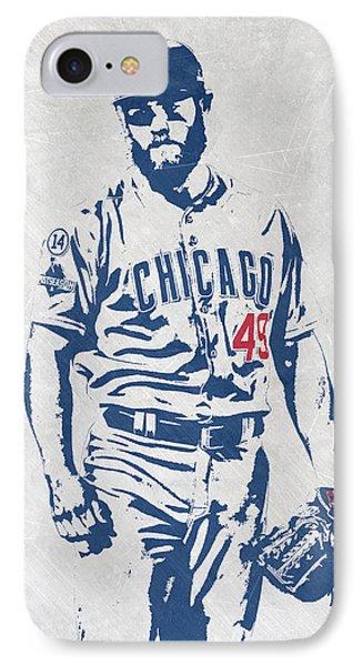 Jake Arrieta Chicago Cubs Pixel Art IPhone Case by Joe Hamilton