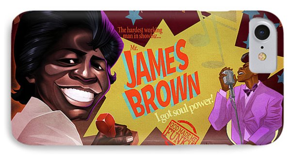 IPhone Case featuring the drawing James Brown by Nelson Dedos Garcia