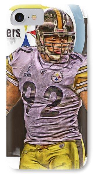 James Harrison Pittsburgh Steelers Oil Art IPhone Case by Joe Hamilton