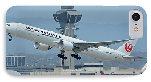 IPhone Case featuring the photograph Japan Airlines Boeing 777-346er Ja737j Los Angeles International Airport May 3 2016 by Brian Lockett