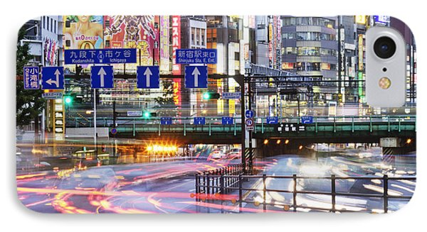 Japanese Downtown Traffic At Dusk IPhone Case by Jeremy Woodhouse