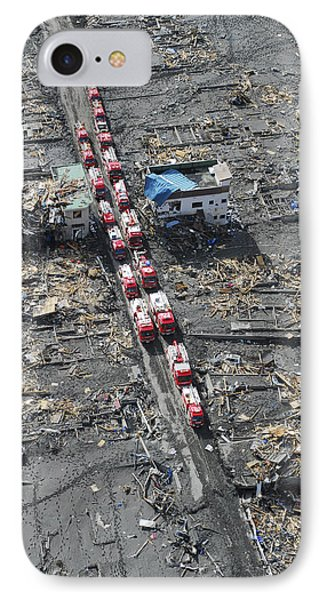 Japanese Fire Trucks Line A Road Phone Case by Stocktrek Images