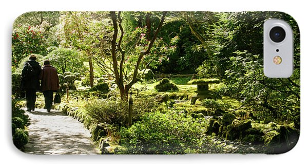 Japanese Garden At Butchart Gardens In Spring Phone Case by Louise Heusinkveld
