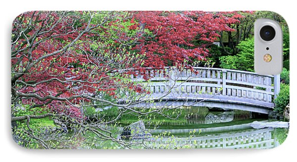 Japanese Garden Bridge In Springtime Phone Case by Carol Groenen