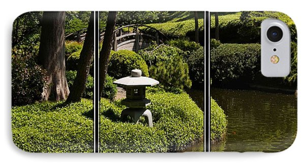 Japanese Garden Triptych IPhone Case by Kathy Churchman