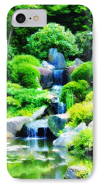 Japanese Garden Waterfall Phone Case by Bill Cannon