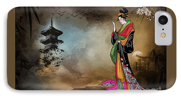 IPhone Case featuring the digital art Japanese Girl With A Landscape In The Background. by Andrzej Szczerski