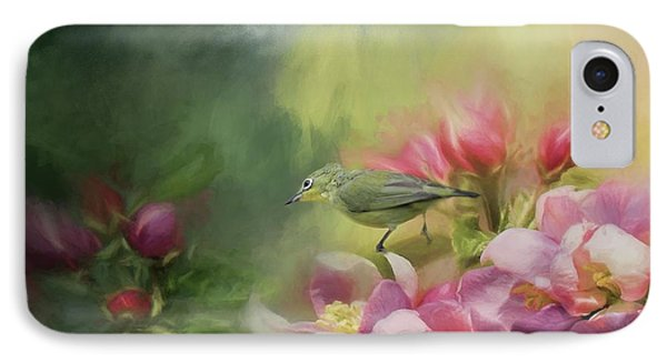 Japanese White-eye On A Blooming Tree IPhone Case by Eva Lechner