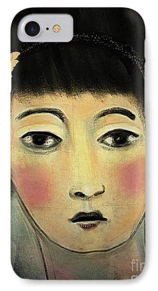 IPhone Case featuring the digital art Japanese Woman With Butterflies by Alexis Rotella
