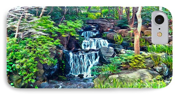 Japanese Waterfall Garden IPhone Case by Scott Carruthers