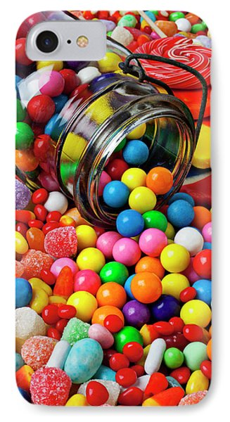 Jar Spilling Bubblegum With Candy Phone Case by Garry Gay