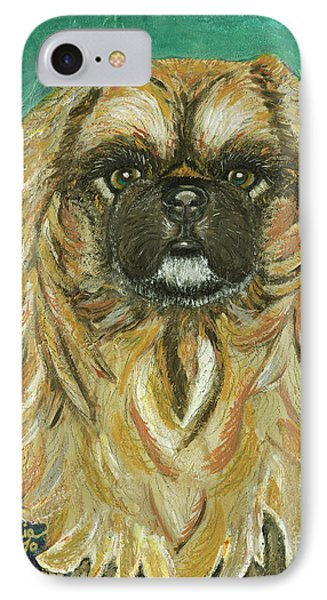 IPhone Case featuring the painting Jasmine The Pekingese Princess by Ania M Milo