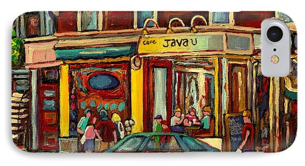 Java U Coffee Shop Montreal Painting By Streetscene Specialist Artist Carole Spandau IPhone Case